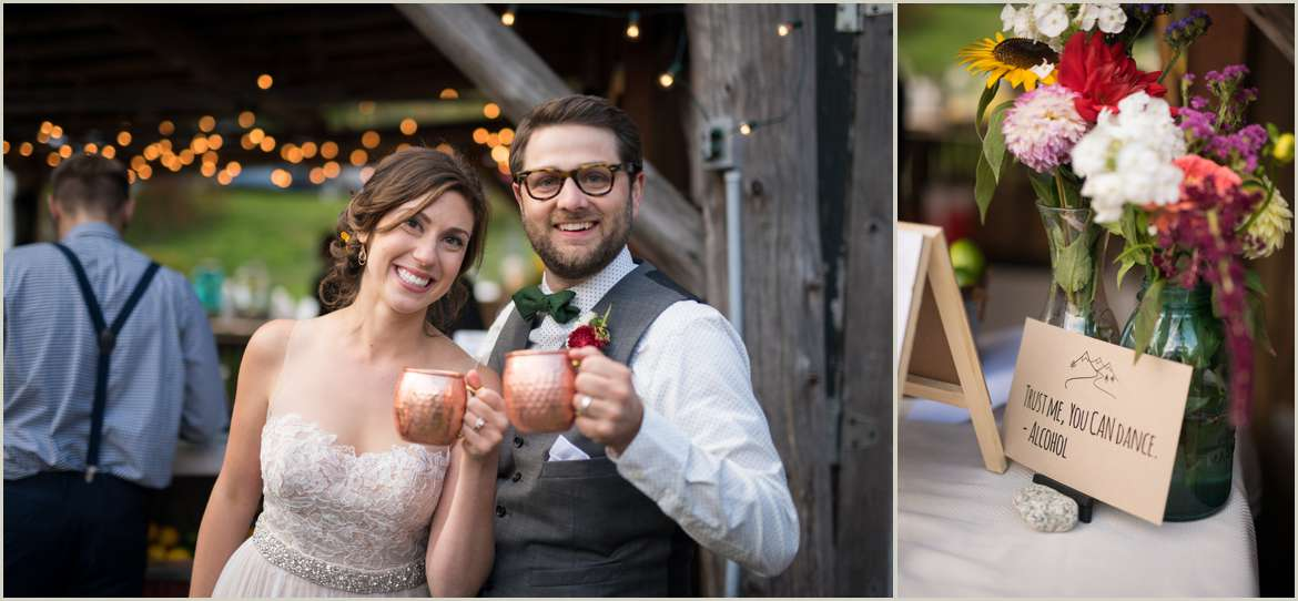bride and groom toasting with custom moscow mule mugs