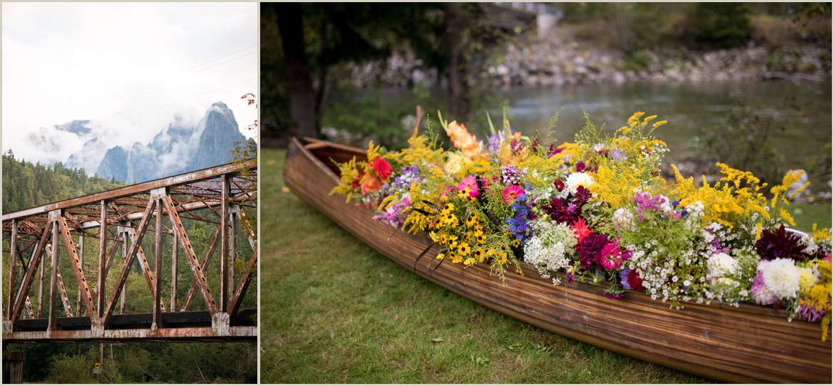 canoe filled with wildflowers