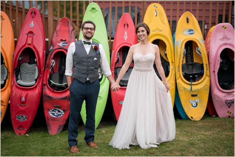 canoe wedding photo