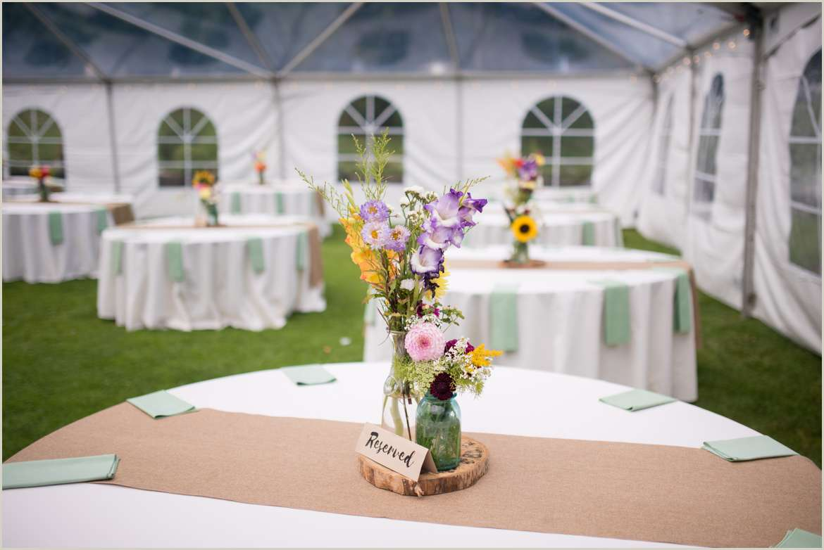 colorful fall wedding in tent
