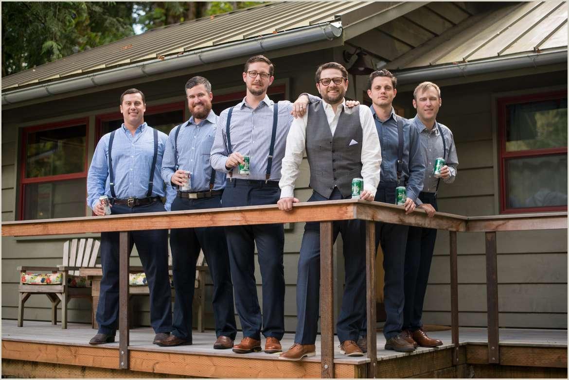 groomsmen on porch of index river cabin