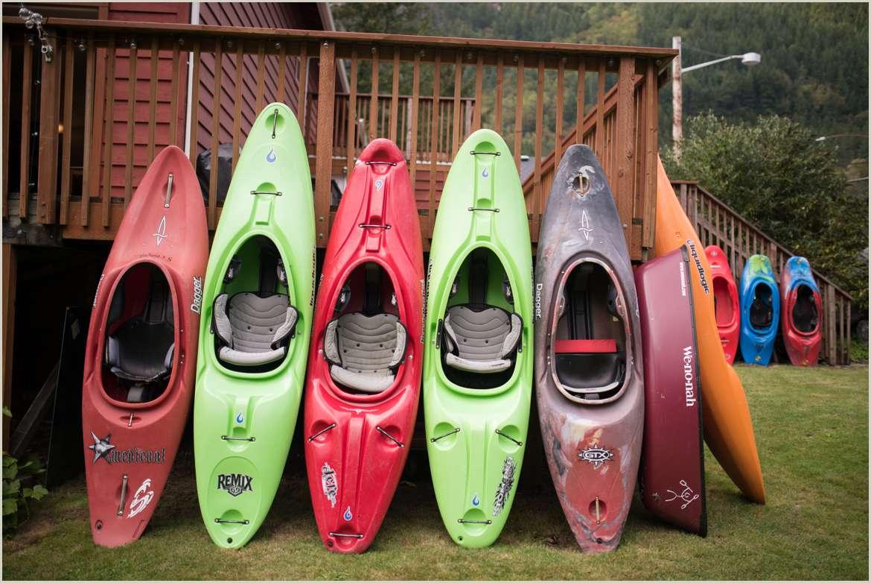 kayaks at the river house