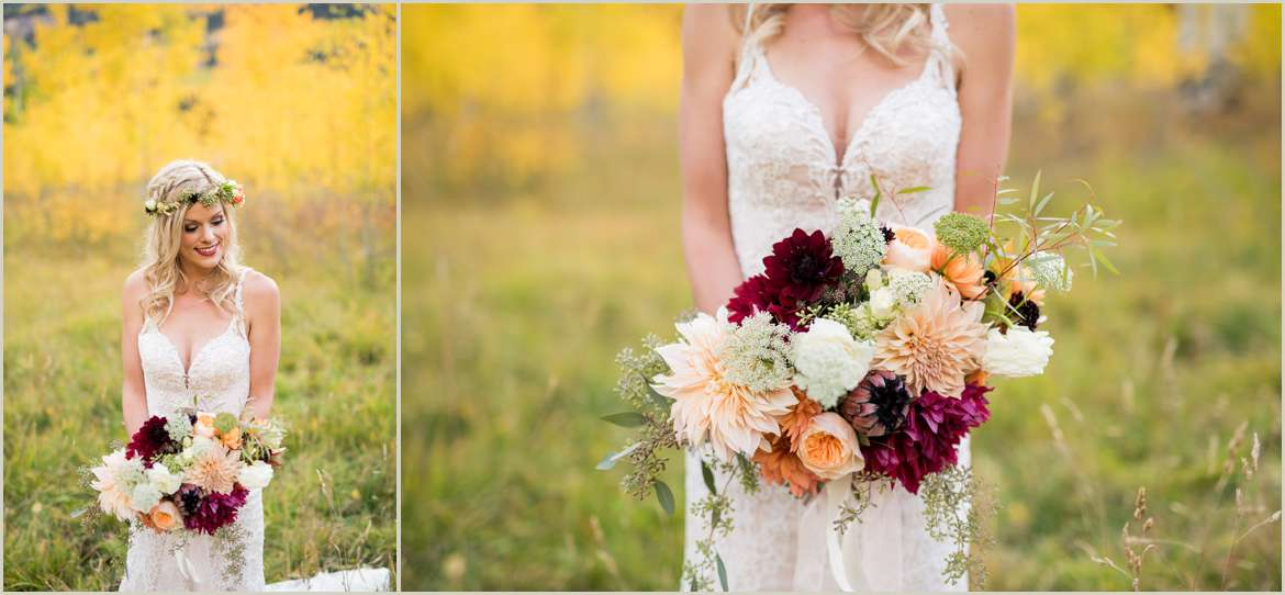 boho bride with flower crown and dahlia bouquet