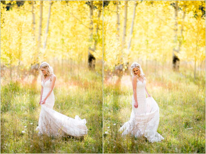 bride twirling in aspen grove in colorado