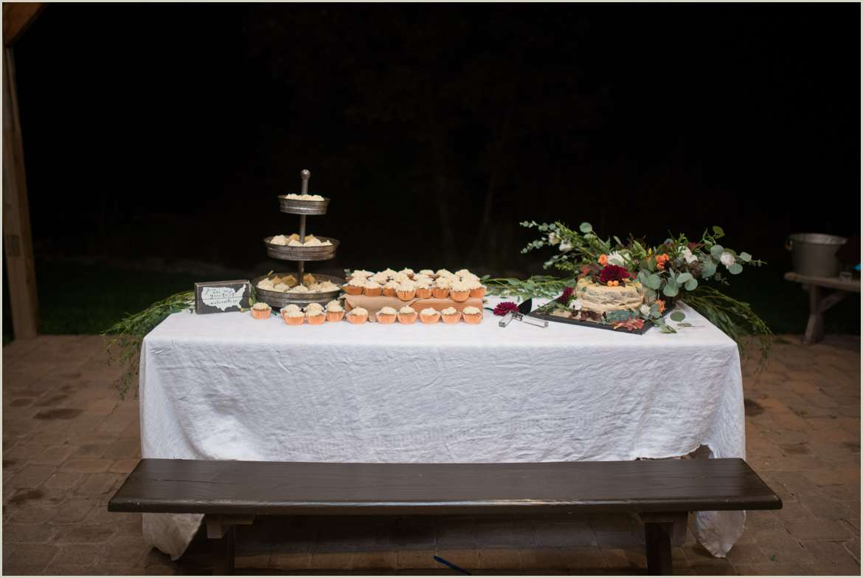 cake table at outdoor colorado reception