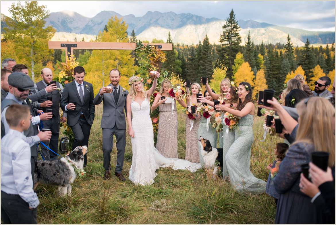 casual wedding ceremony growler cheers with guests