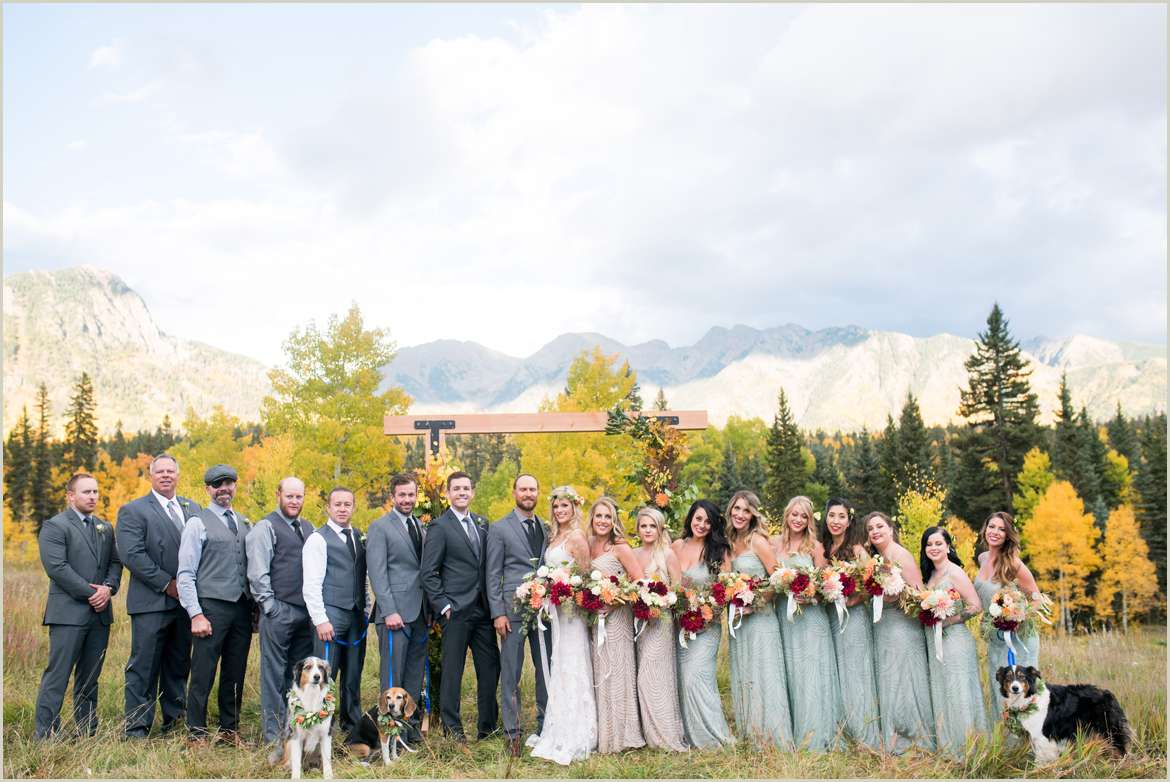 fall wedding party in colorado