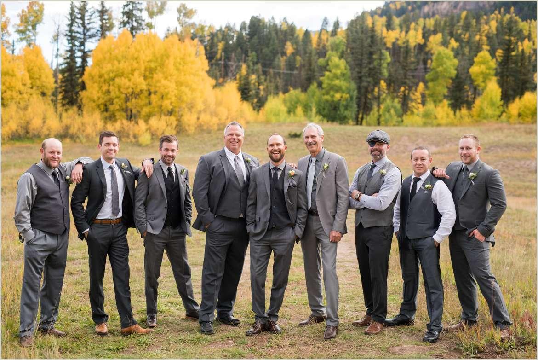 groomsmen in grey for fall wedding