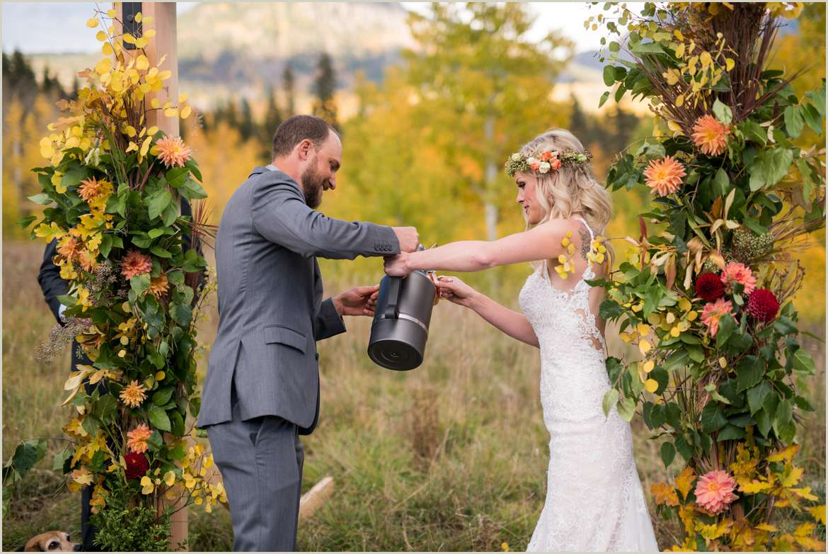 growler unity ceremony outdoorsy wedding couple