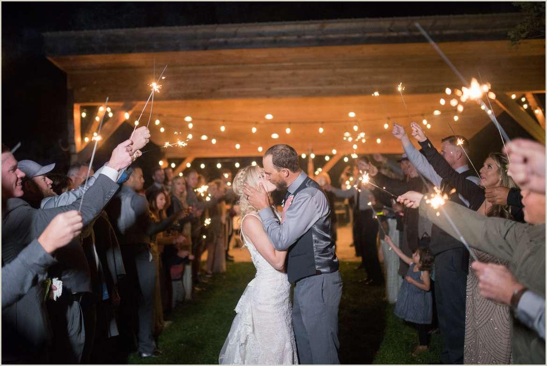 sparkler exit at wedding reception in colorado