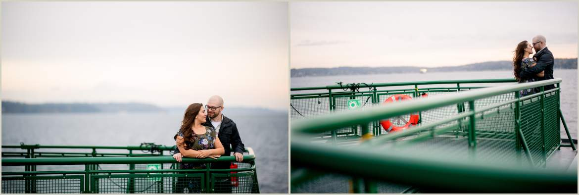 engagement photos on a seattle ferry boat