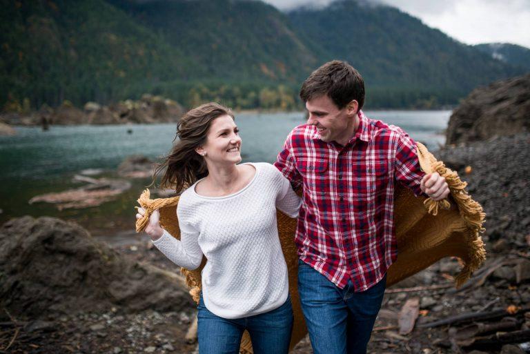 Fall Lake Cushman Engagement Photos   Seattle Wedding Photographers