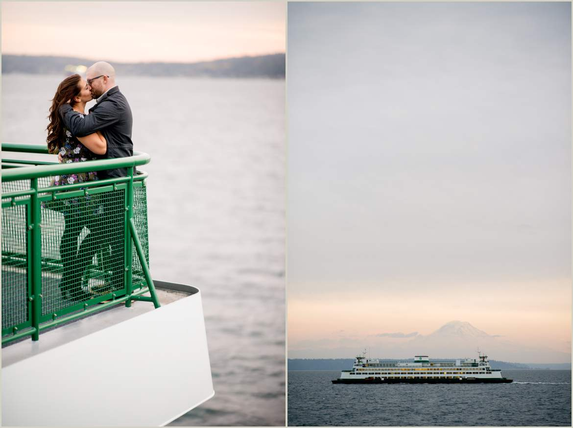 seattle engagement photos on the ferry