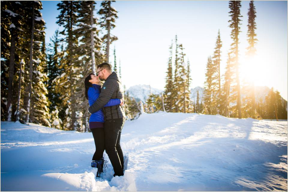 adventurous winter engagement photos in mountains