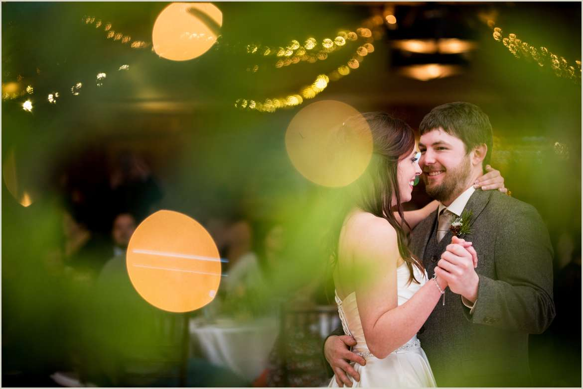 bride and groom first dance holiday wedding