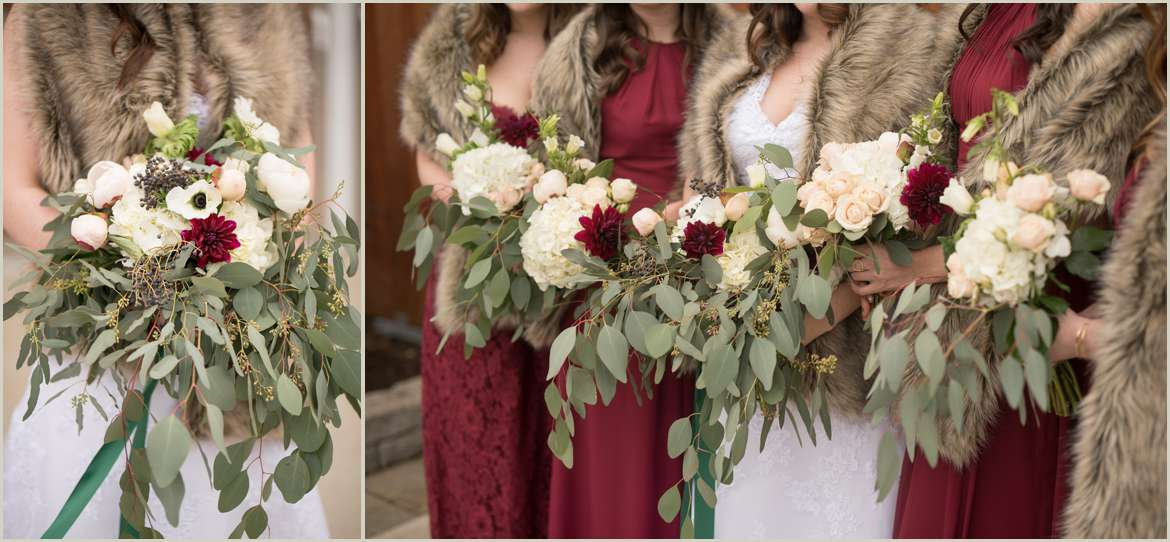 burgundy and greenery wedding flowers