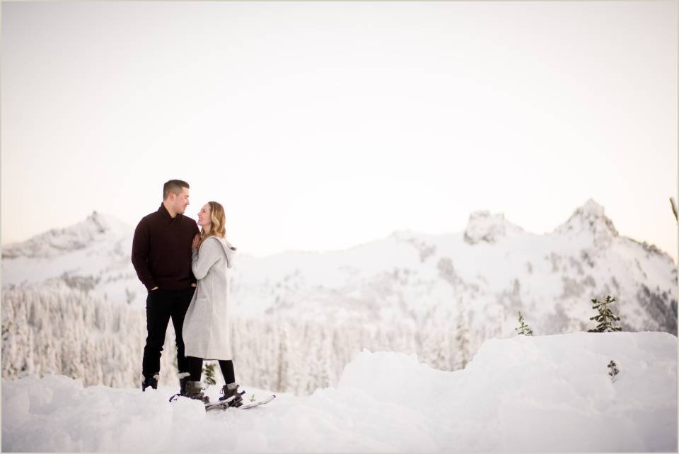 cascade mountain views engagement photos winter wonderland