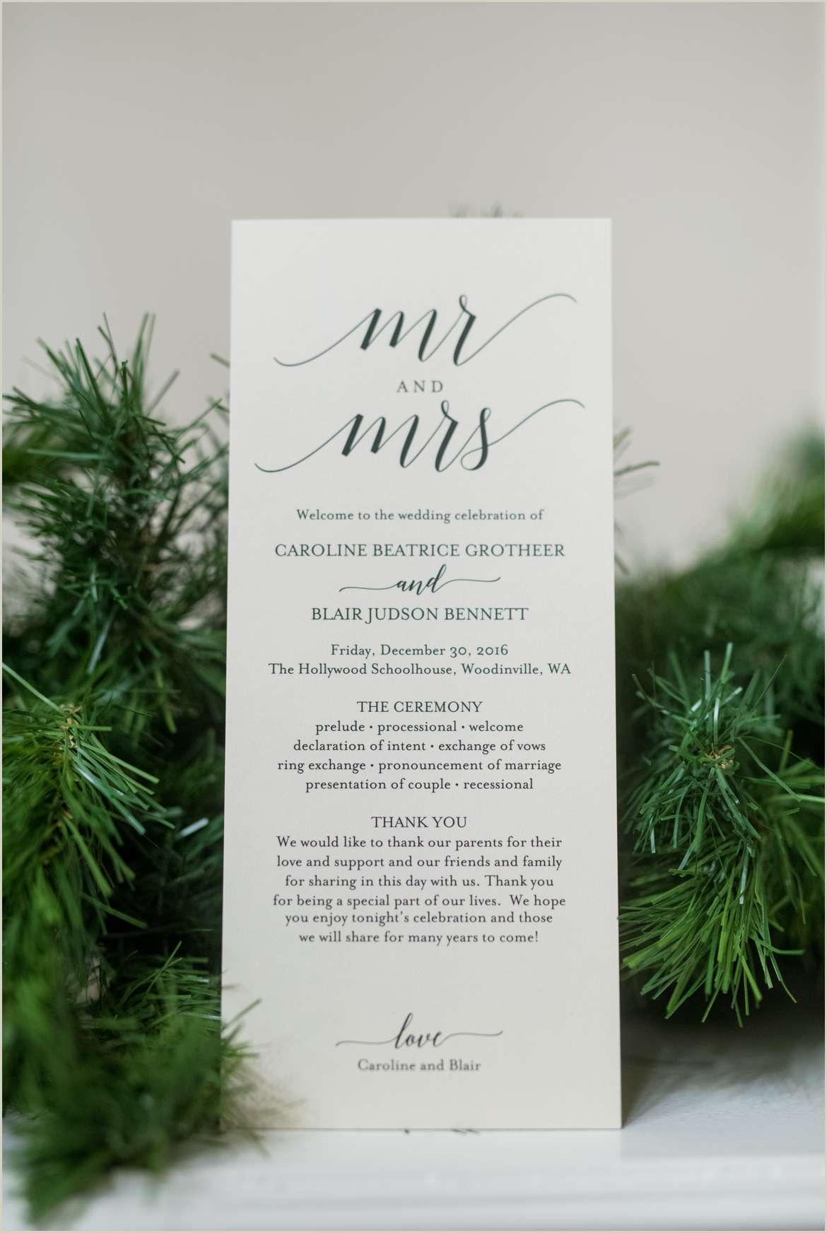 classic winter wedding style program 1