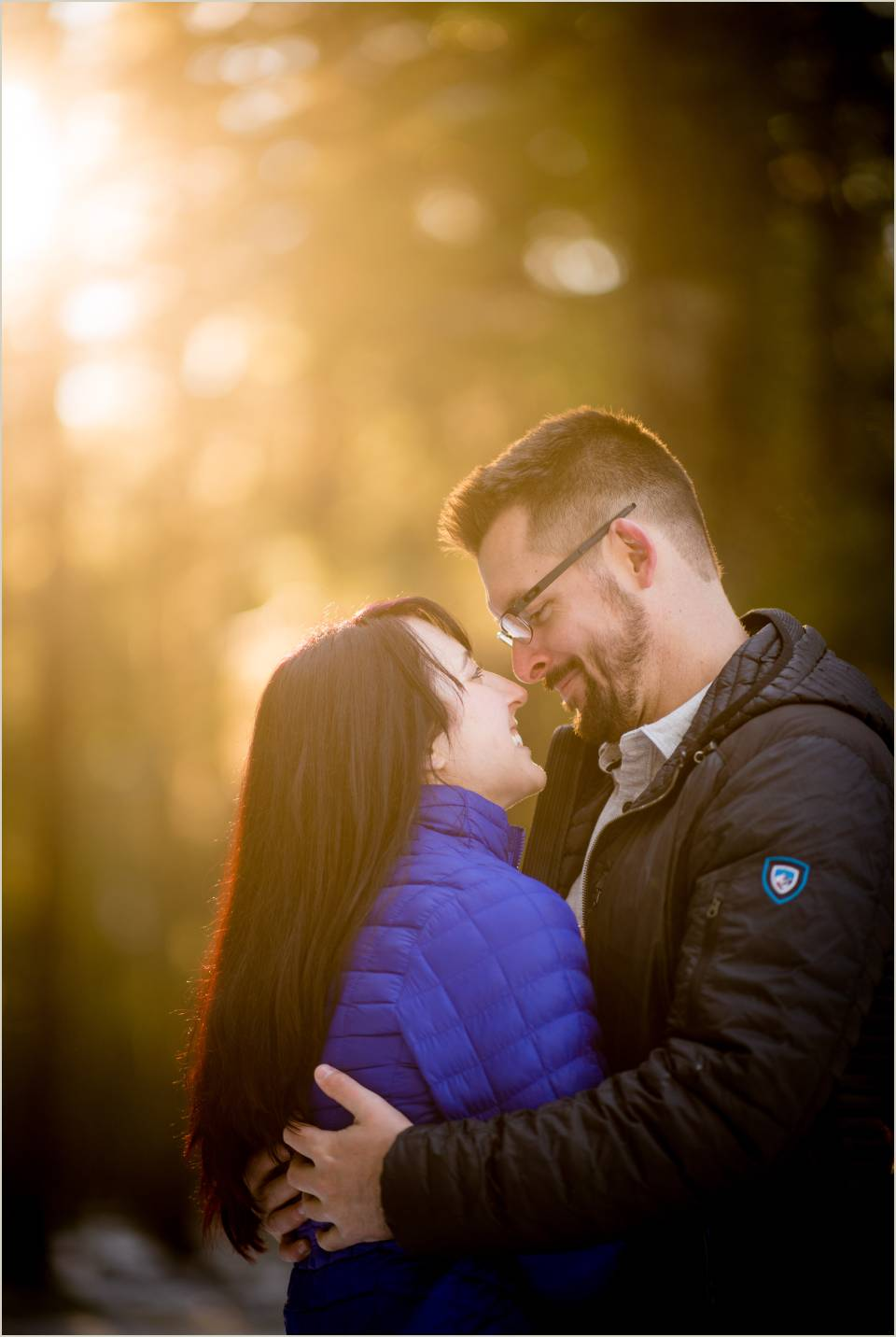 couple hugging with warm light