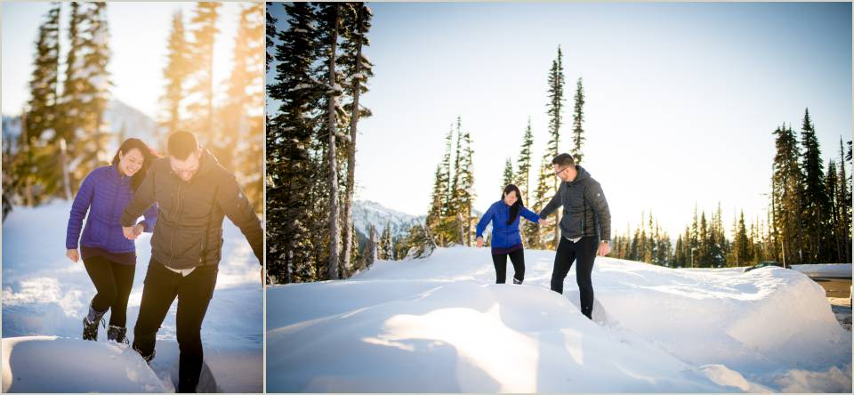 couple walking though snow
