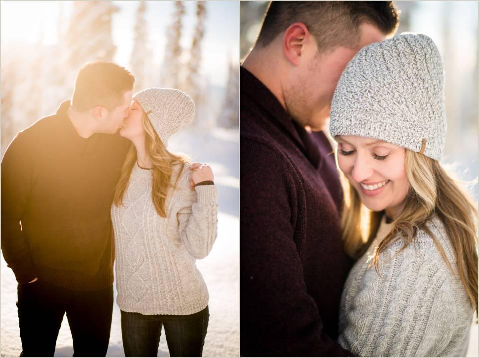 emotional happy wintertime enagement photos