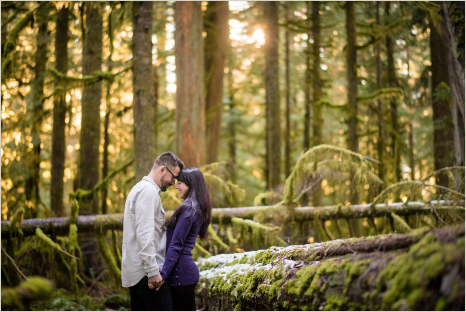 engagement photos in a mossy forest