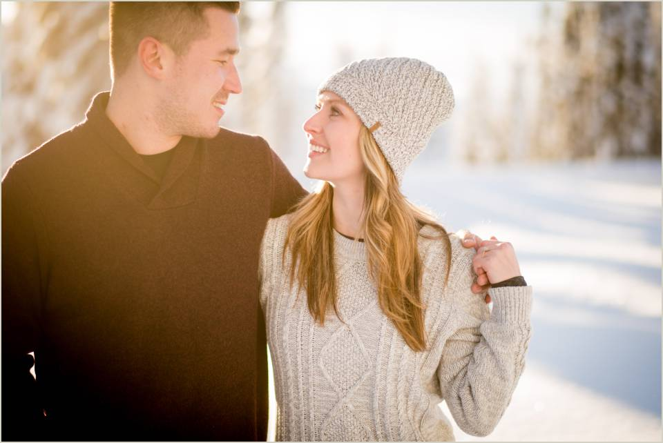 excited couple mt ranier snow