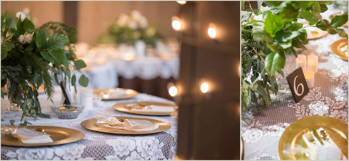 greenery and gold wedding details