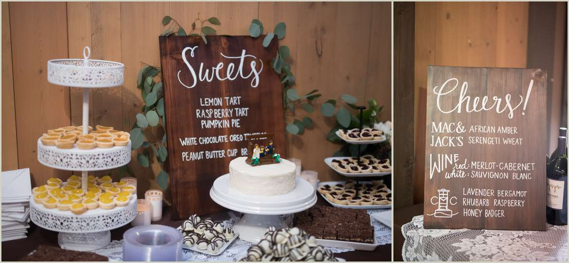 hand lettered wedding signs for dessert and bar