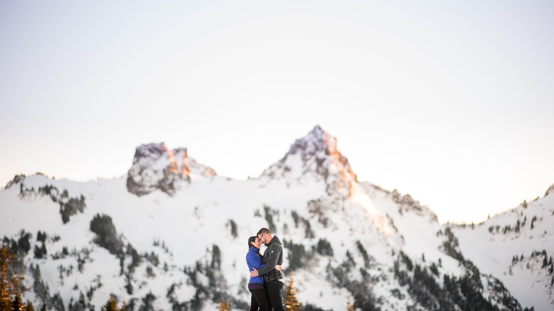 mount rainier winter engagement photos featured