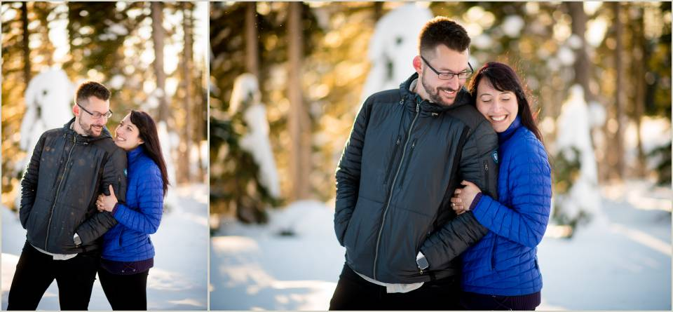 mount rainier winter engagement photos