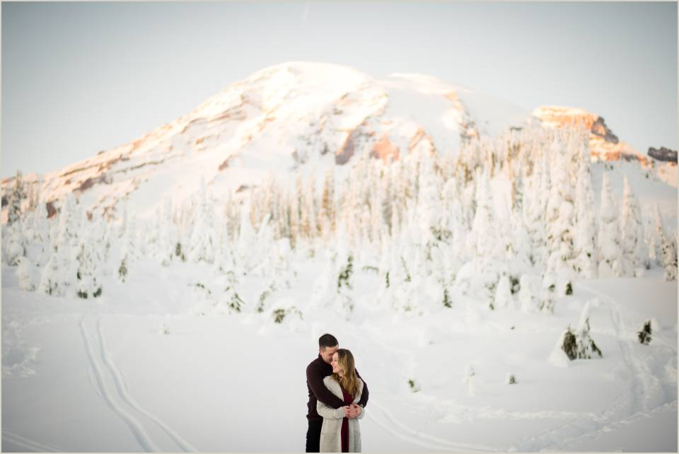 mt ranier winter sunset engagement photos