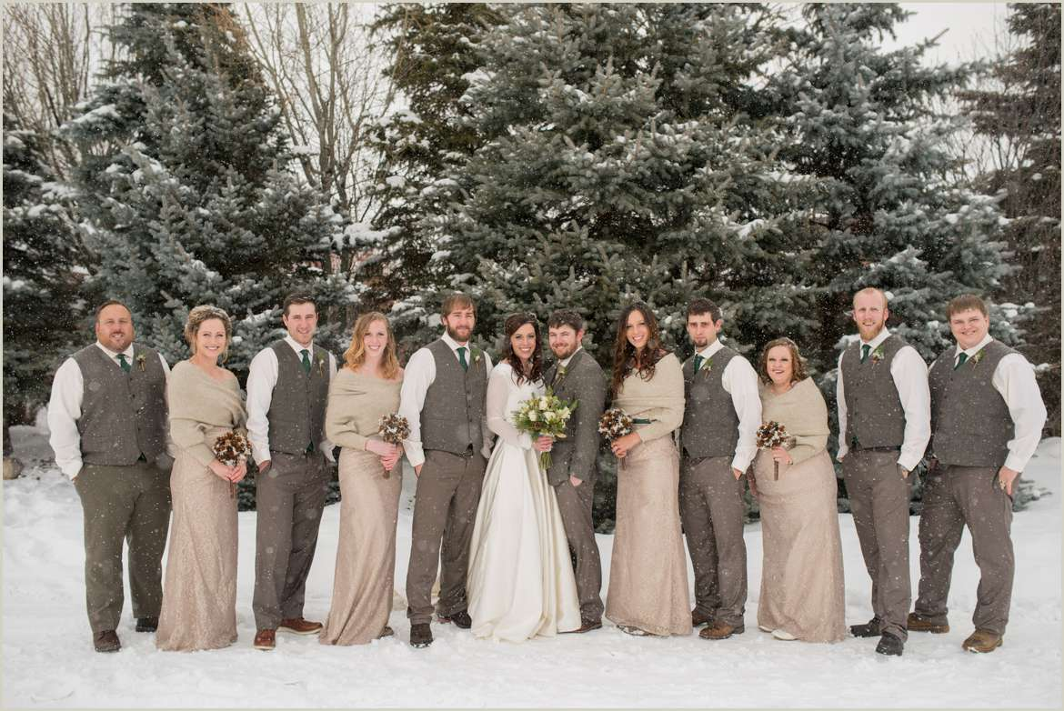 neutral winter wedding party