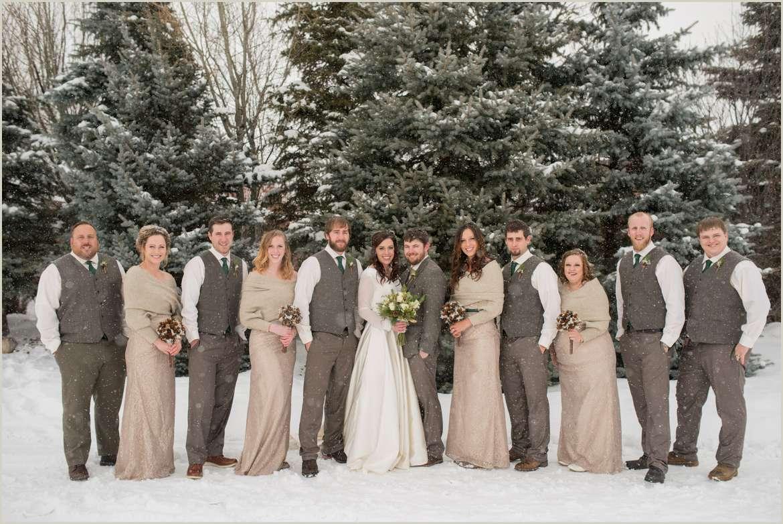 neutral winter wedding party