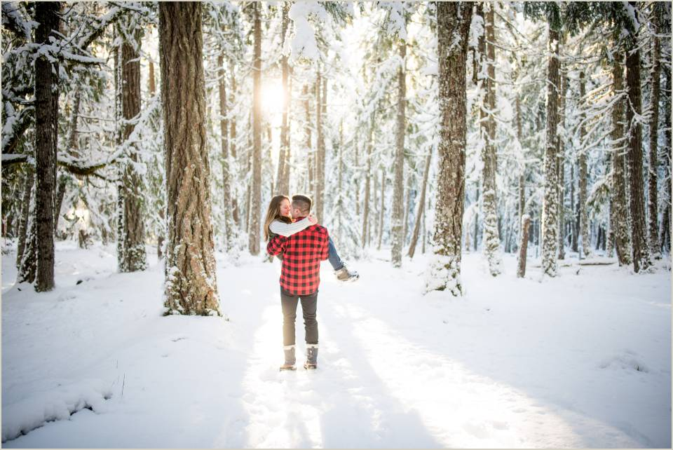 panoramic winter forest couple