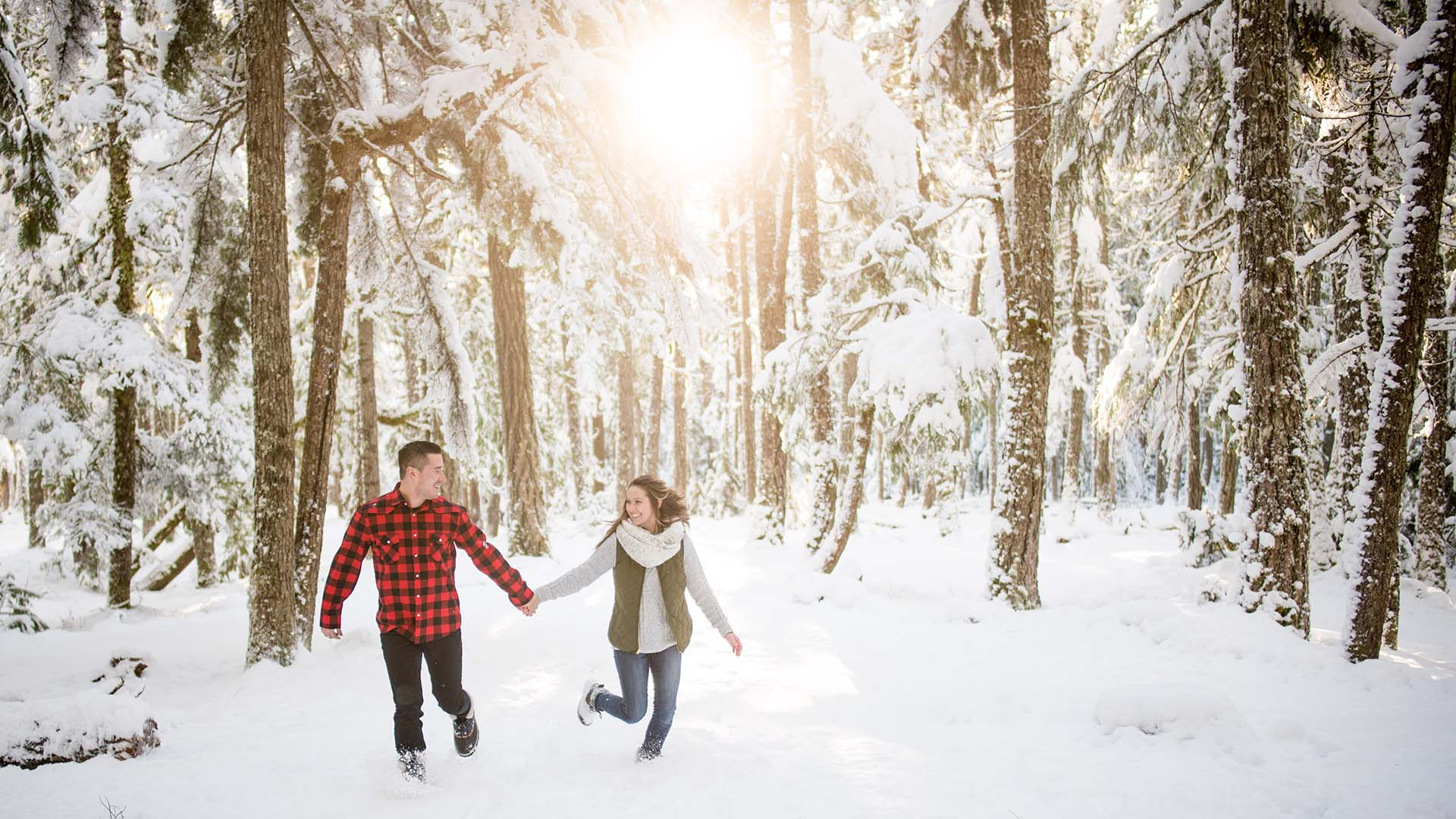 romantic snowy engagement photos featured