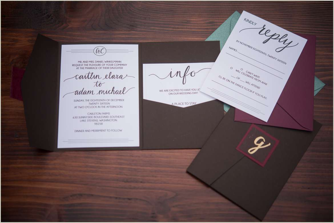 rustic hand lettered wedding invitation