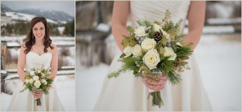 rustic winter wedding bride
