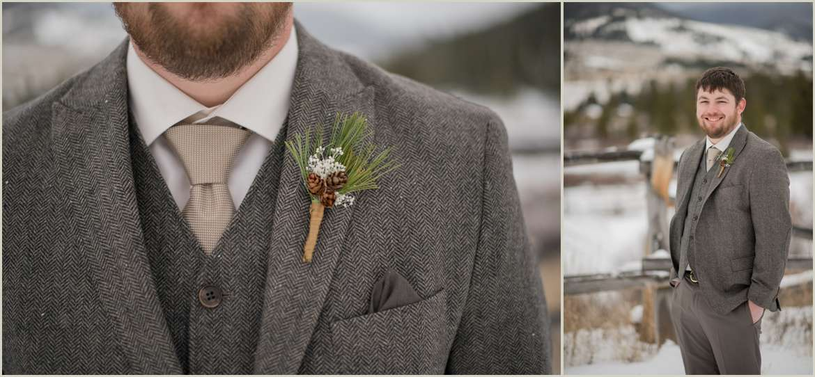 rustic winter wedding groom