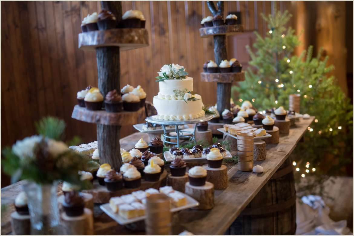 rustic wood and evergreen cake table