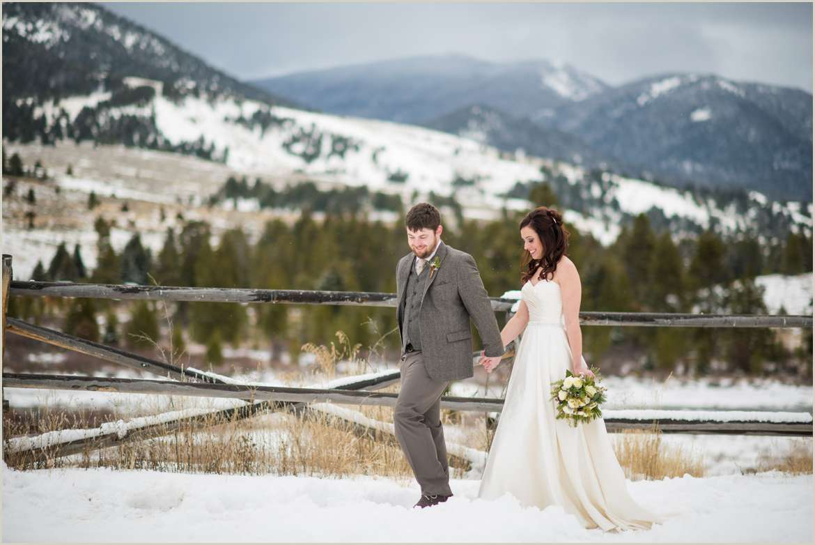 snowy winter wedding on ranch in big sky montana