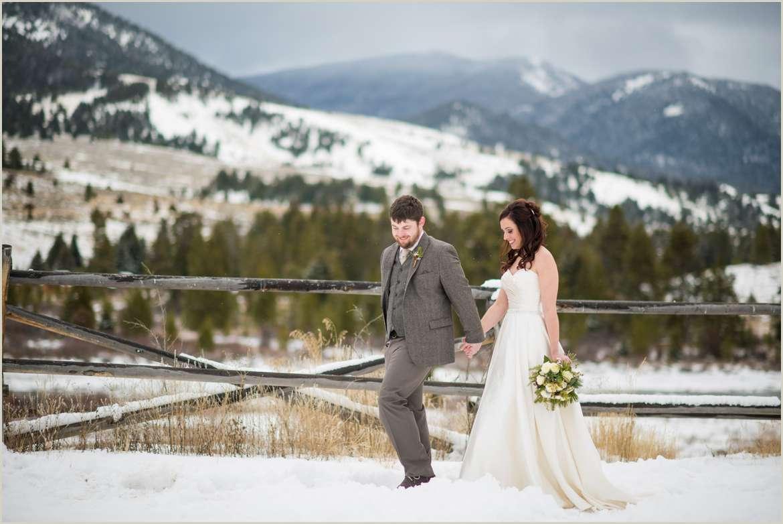 snowy winter wedding on ranch in big sky montana