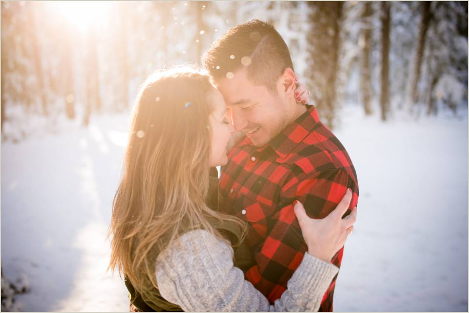 sunny winterwonderland couple romantic engagemet photos