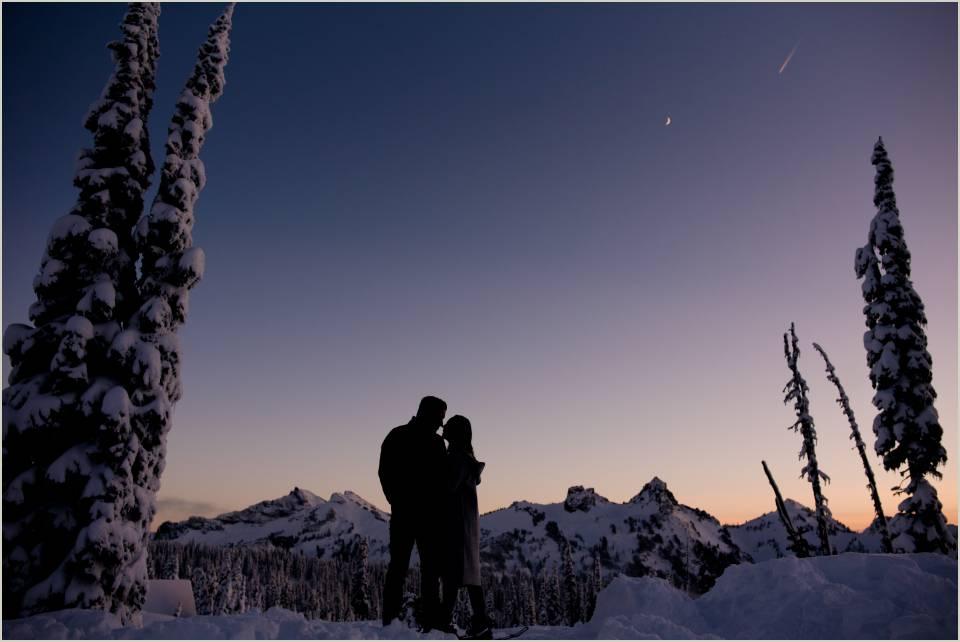 sunset silhouette winter mt ranier