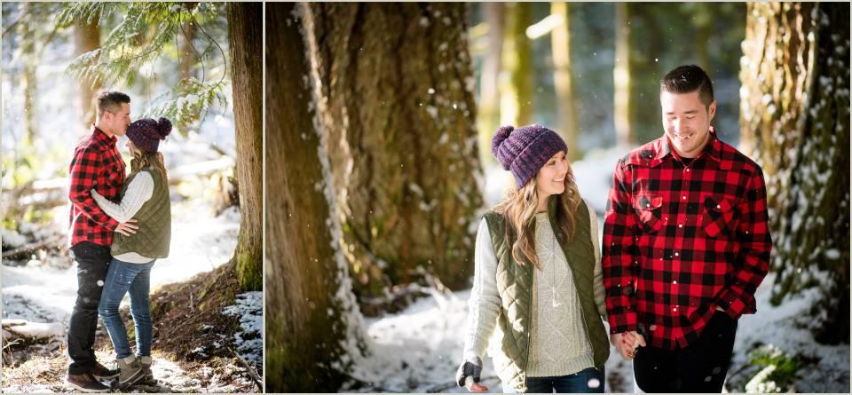 walking through the snow engagement photos
