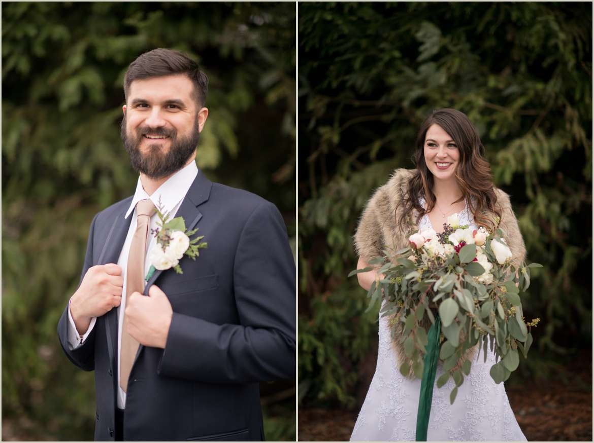 winter bride and groom style