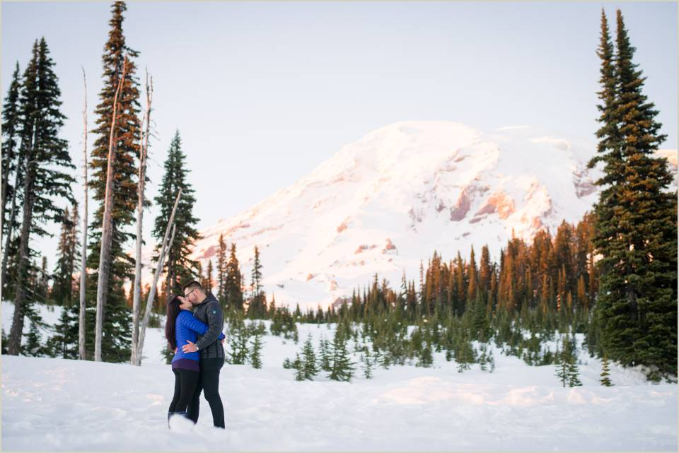winter engagement photo with mount rainier