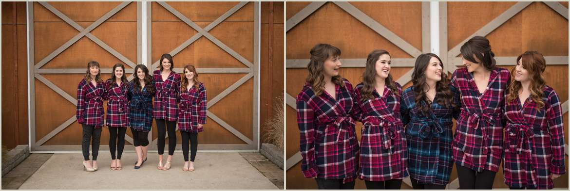 winter wedding bridesmaids in flannel shirts