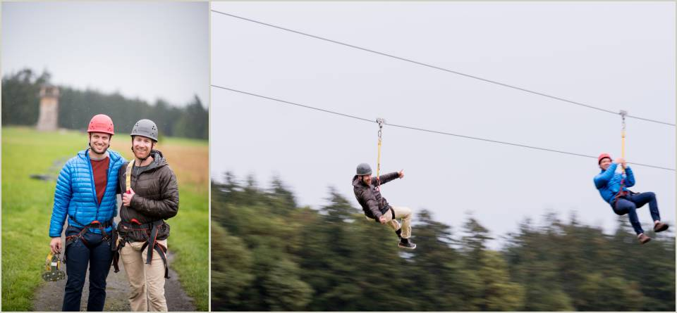 adventurous groom on a zipline