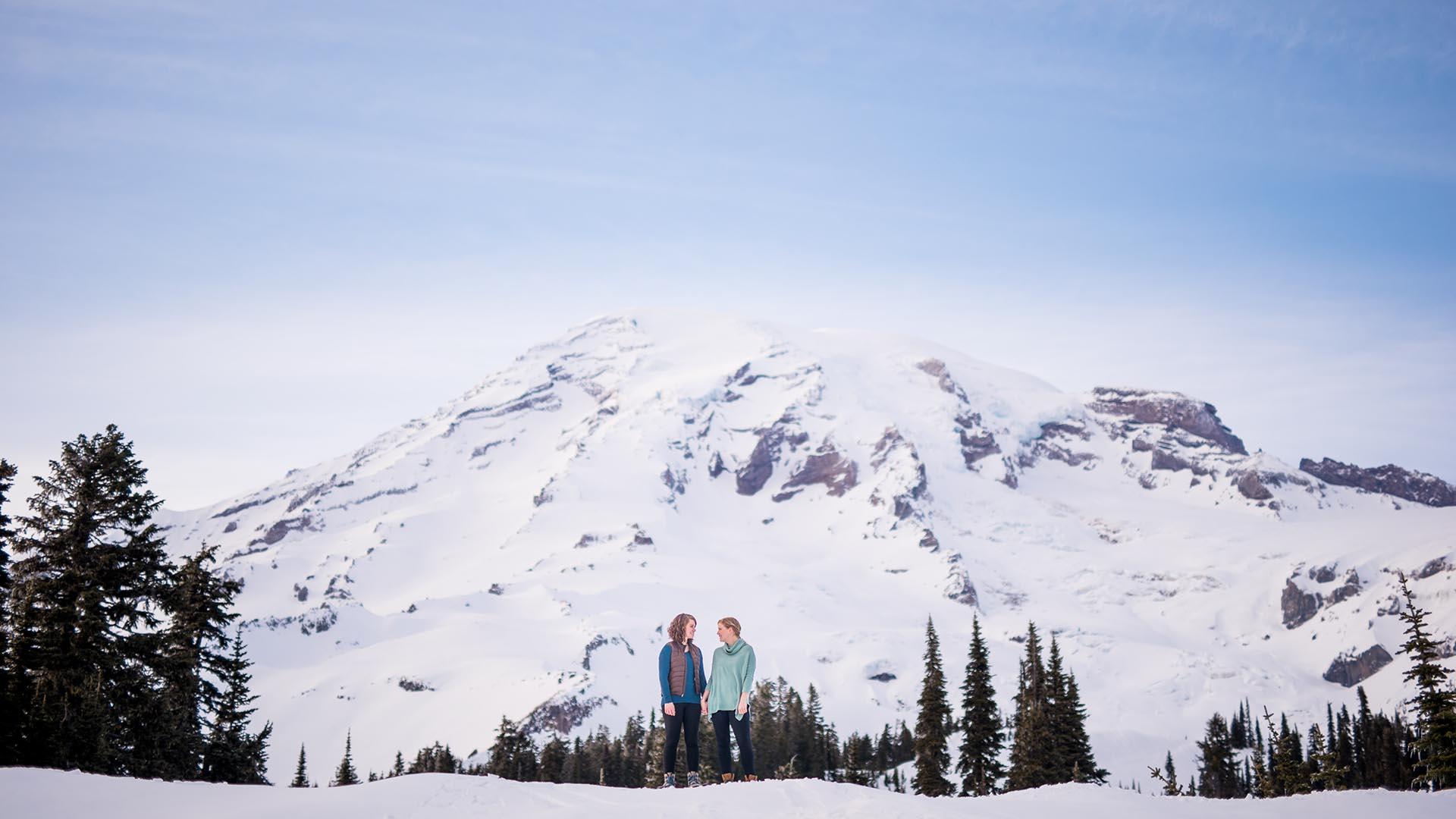 adventurous snowshoe engagement photos same sex featured